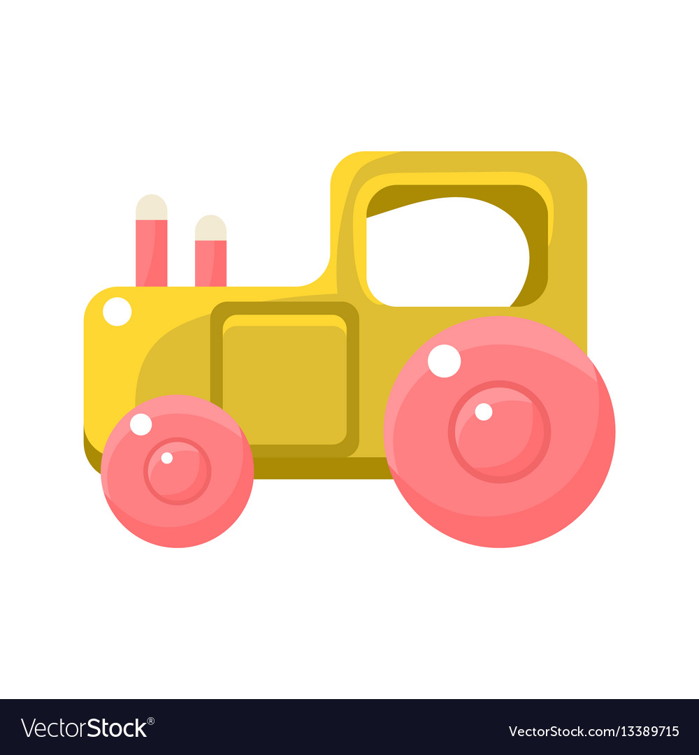 Toy yellow truck with pink wheels object from vector image