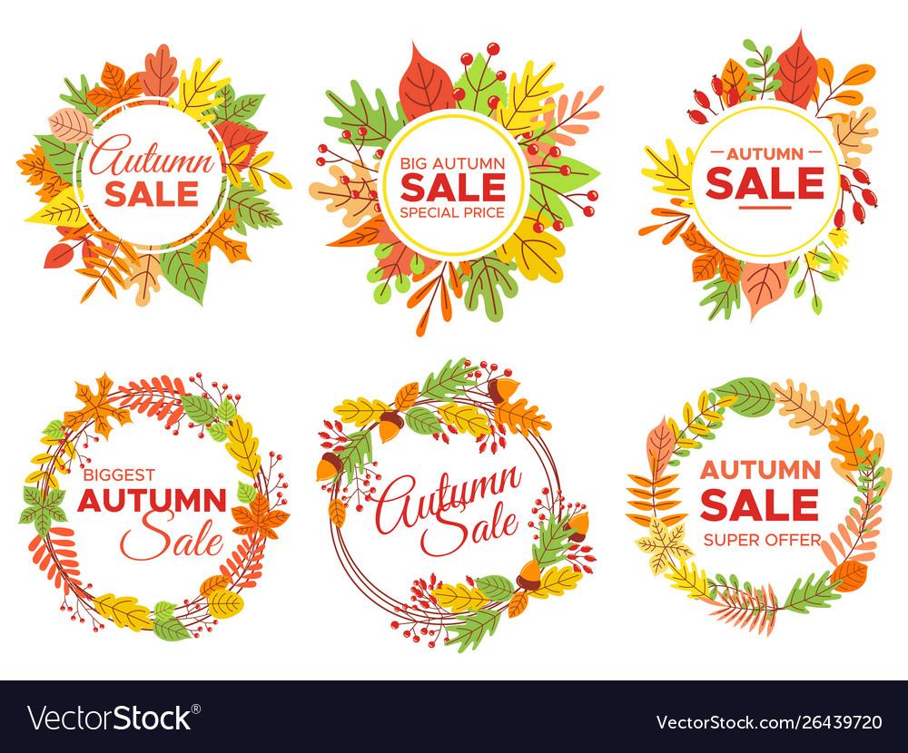 Autumn sale badges fall season sales autumnal