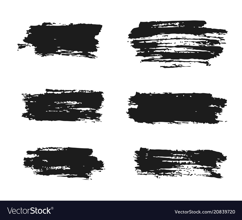 Black ink brush strokes hand painted vector image