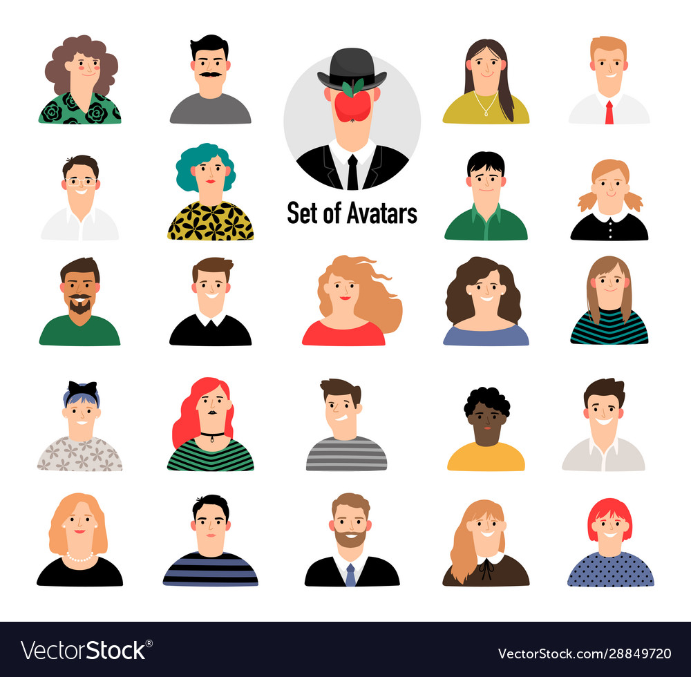 Cartoon avatar set with men and women business