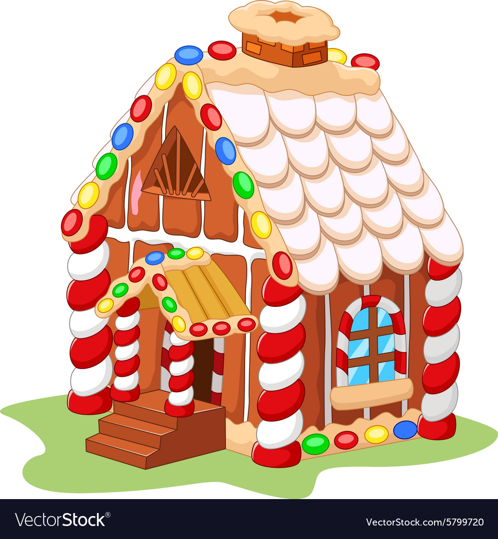 cartoon gingerbread house royalty free vector image rh vectorstock com gingerbread house cartoon drawing gingerbread man house cartoon