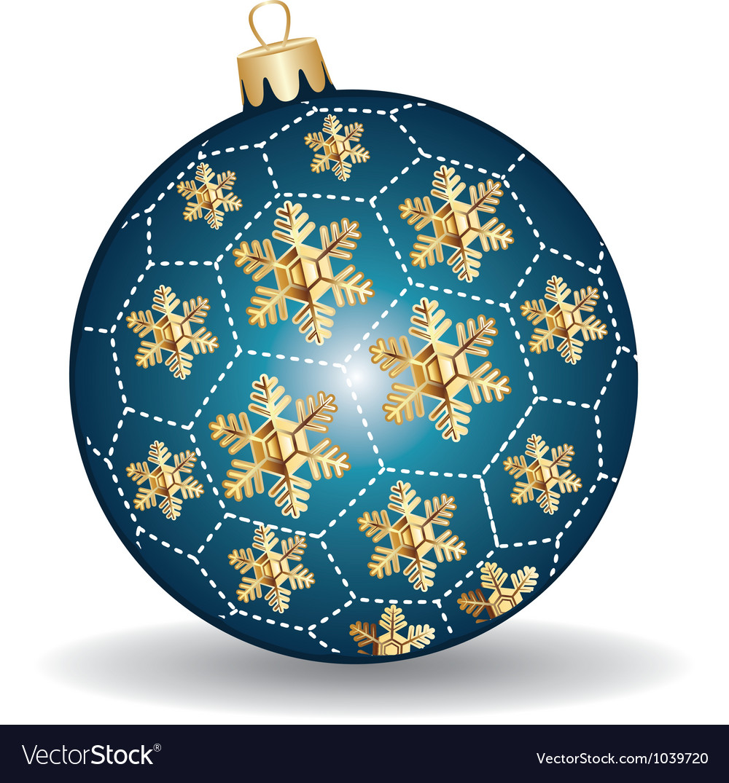 Christmas blue and gold ball vector image