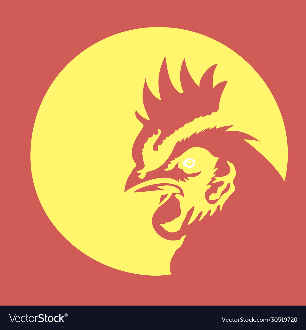Creative rooster with circle line logo concept