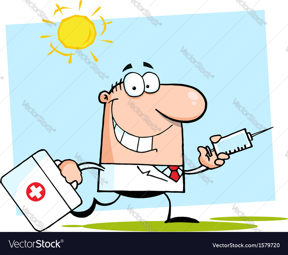 Doctor with needle cartoon