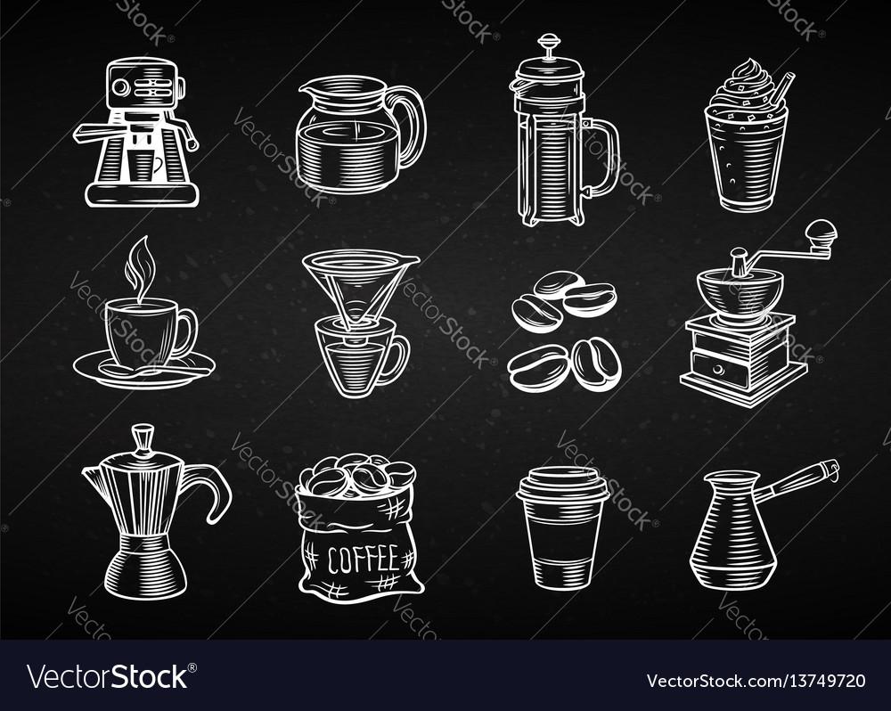 Hand drawn decorative coffee icons set
