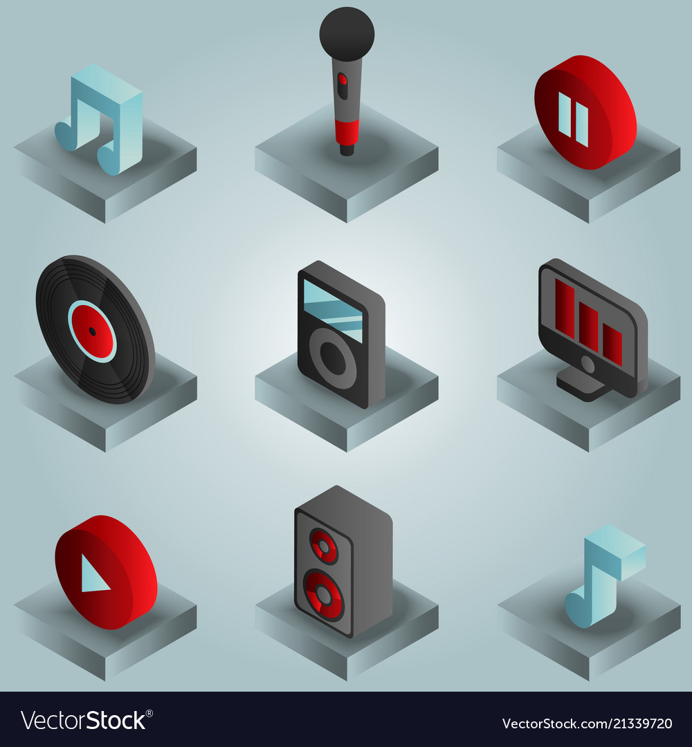 Music color gradient isometric icons