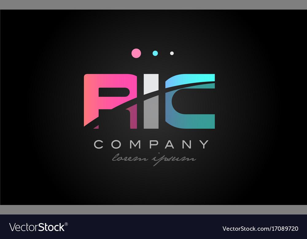 Ric r i c three letter logo icon design vector image