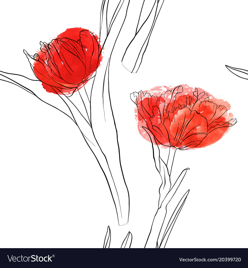 Seamless pattern with drawing tulips