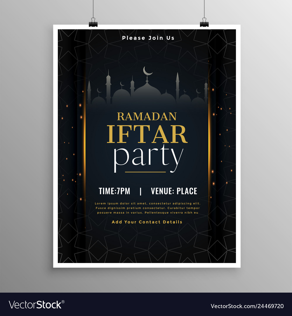 Stylish ramadan iftar party invitation template Vector Image