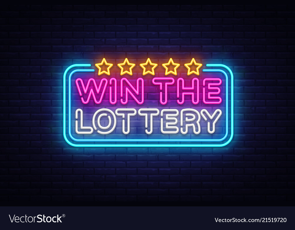 Win the lottery neon text design template