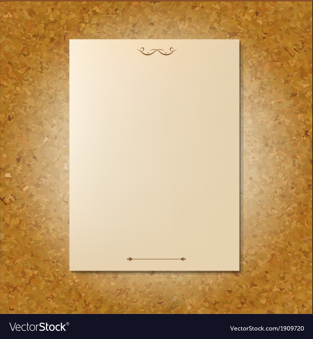 Yellowed Pages Of Old Paper On Cork Board vector image