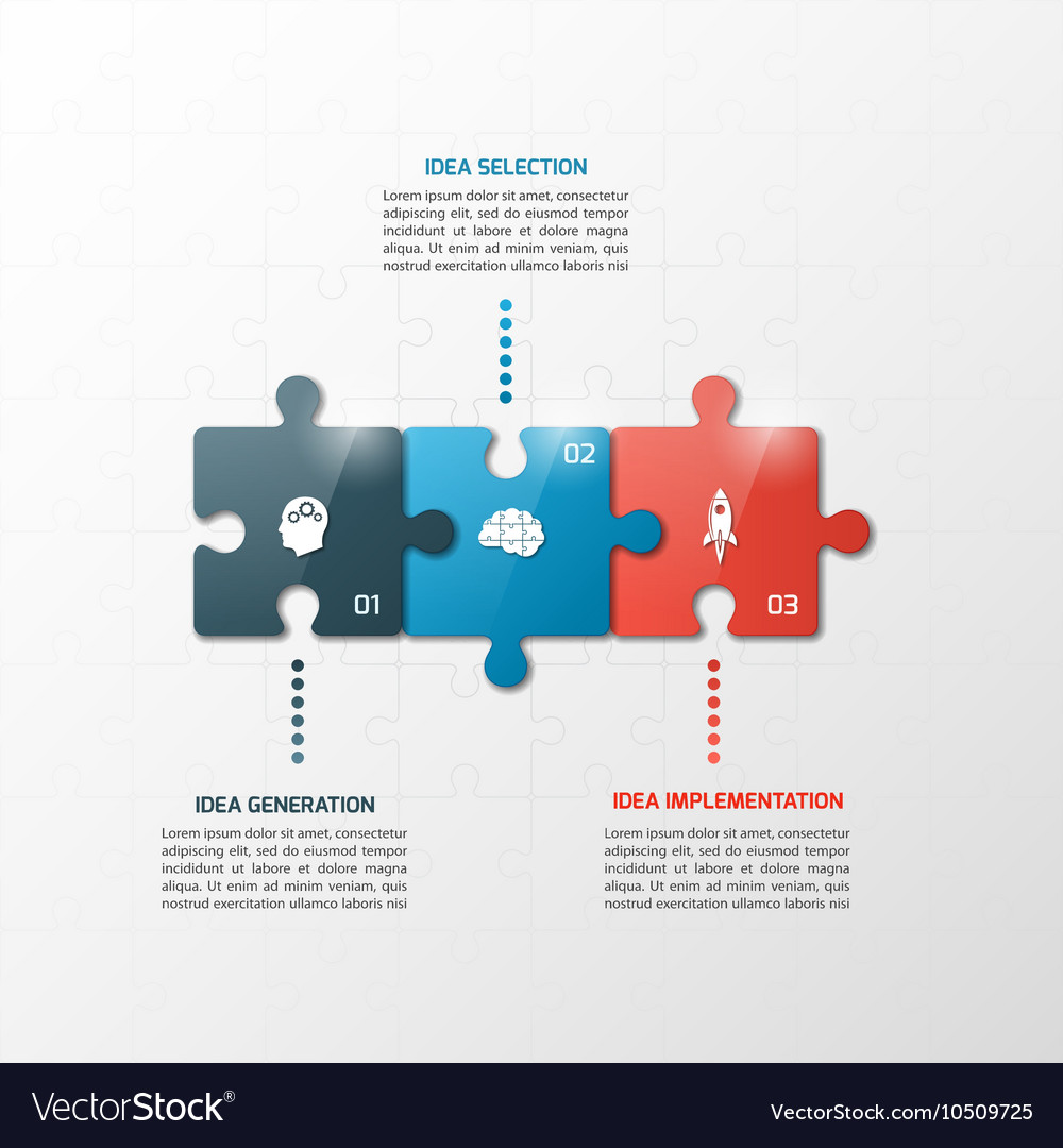 3 steps puzzle style infographic template vector image