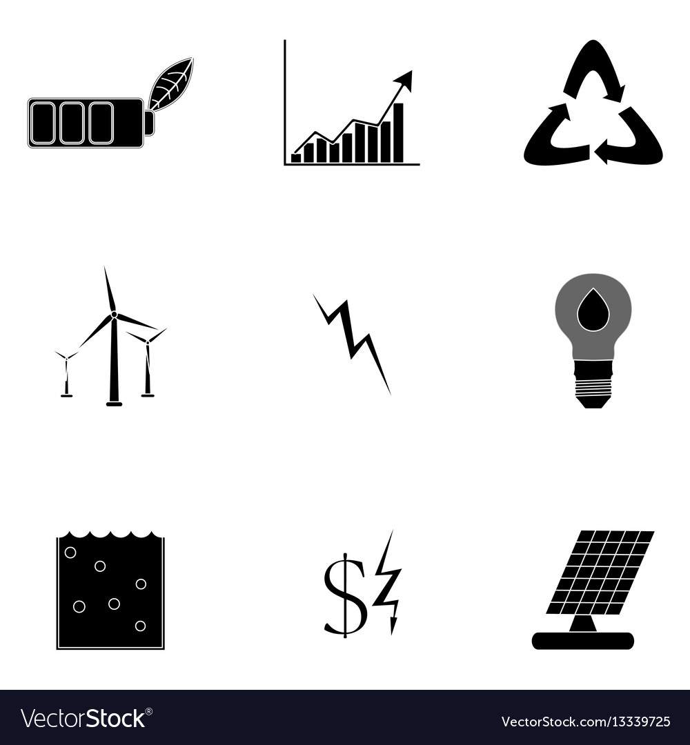 Alternative energy icons black silhouette