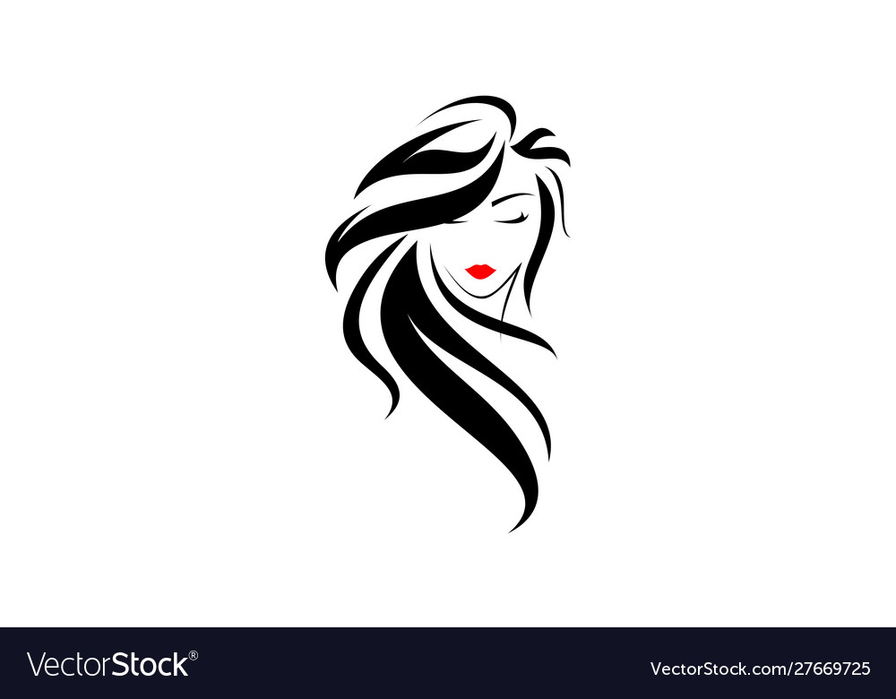Beautiful Women Face Hair Salon Logo Royalty Free Vector