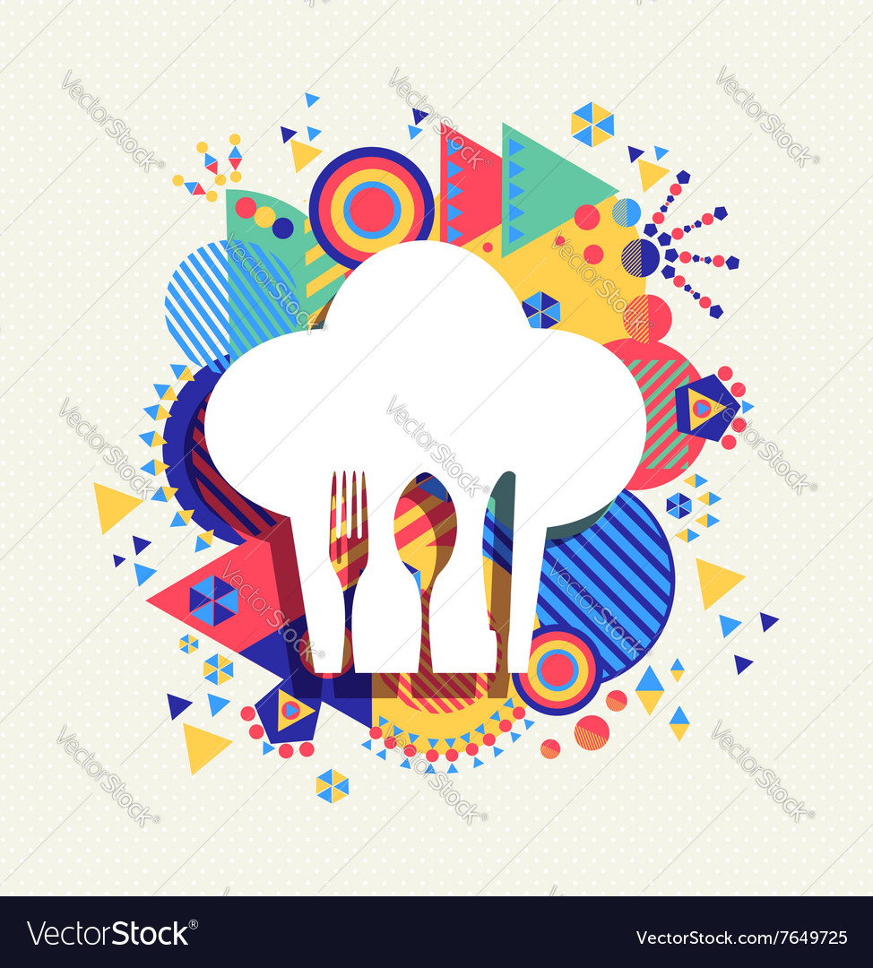 Chef Hat Menu Icon Concept Color Shape Vector Image
