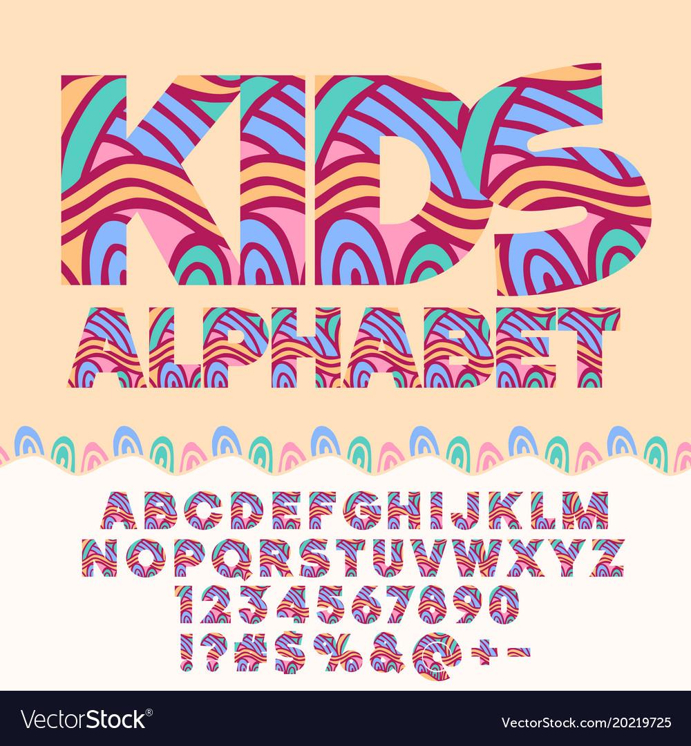 Children bright motley pattern alphabet set