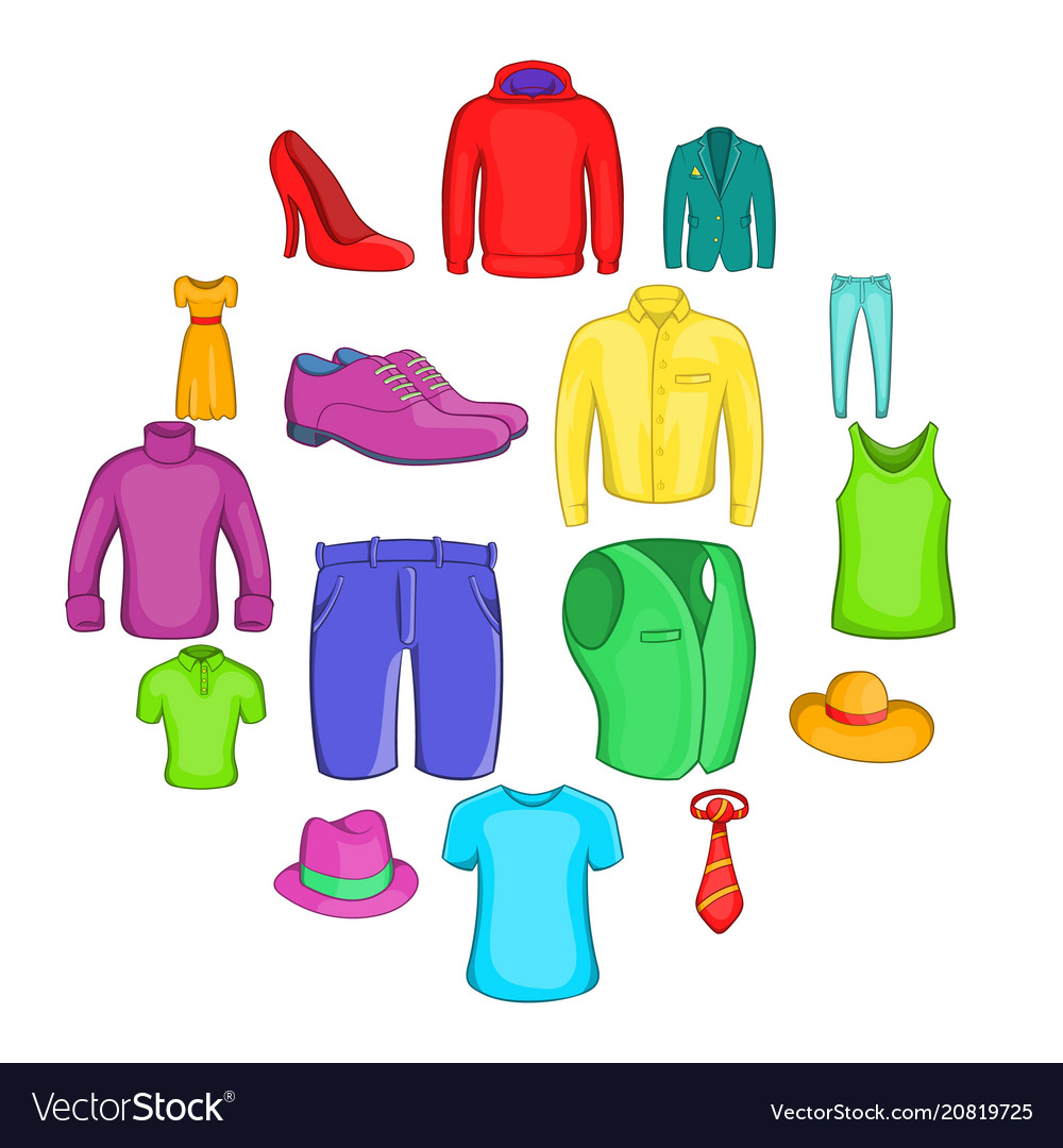 Clothes icons set cartoon style