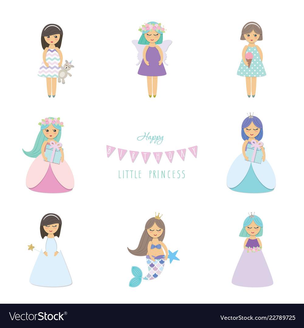 Cute little girls princess mermaid angel fairy