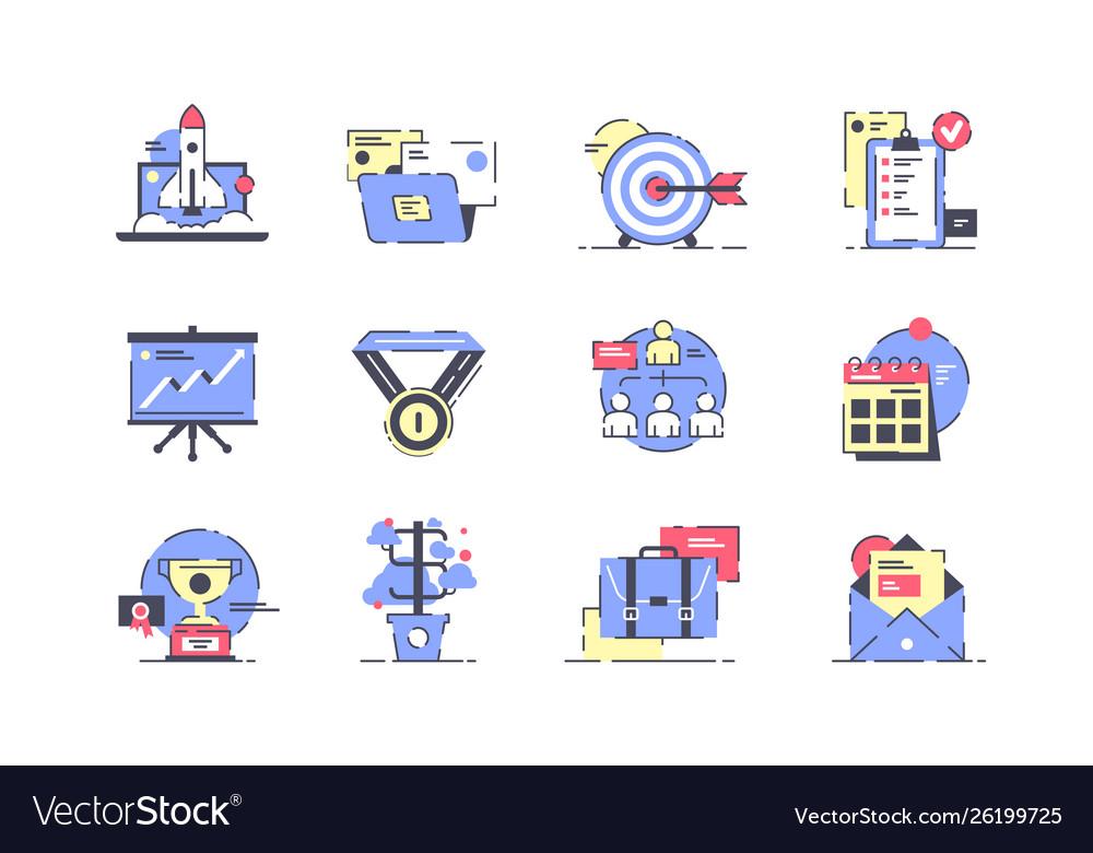 Flat startup icon set with rocket presentation