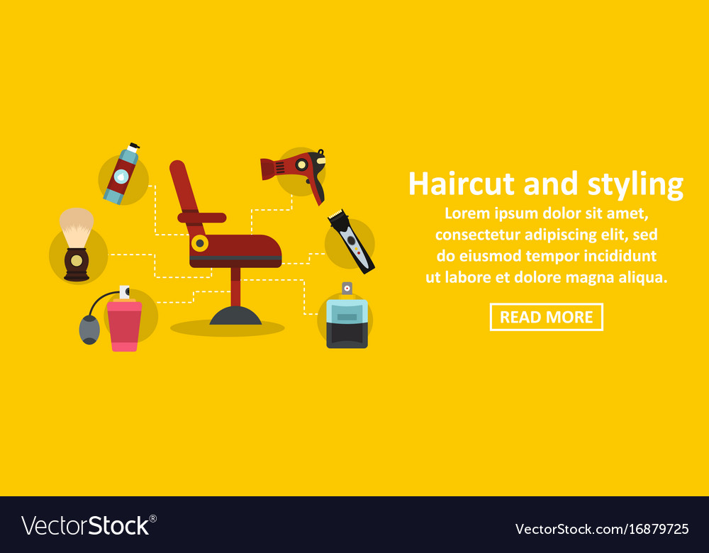 Haircut And Styling Banner Horizontal Concept Vector Image