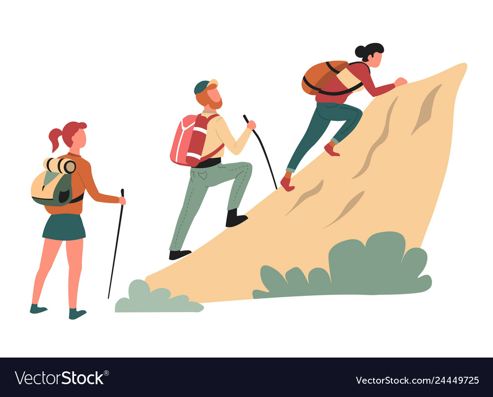Hiking climbing cliff man and women hikers or