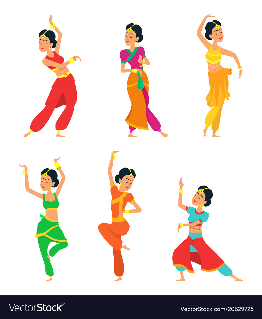 Indian dancers isolate on white background