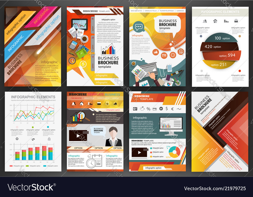 Orange business brochure templates with