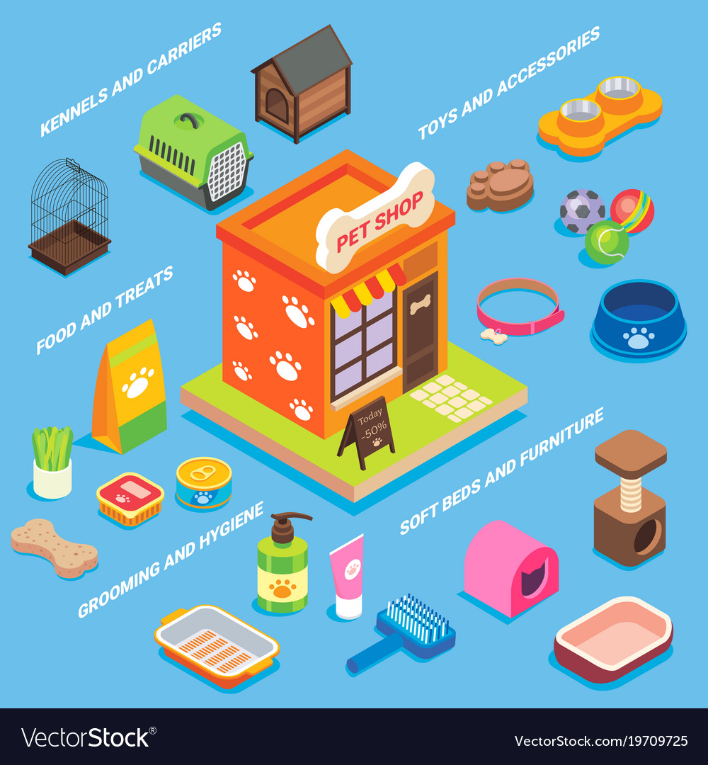 Pet store flat isometric icon set