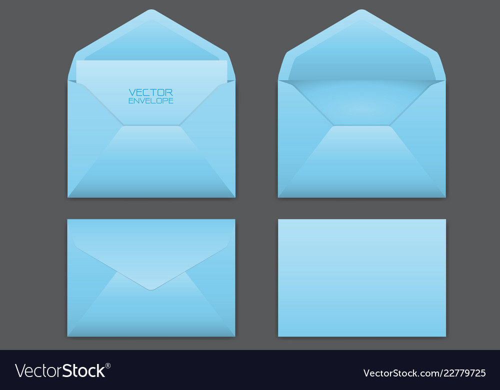 Realistic blue envelope set on grey vector