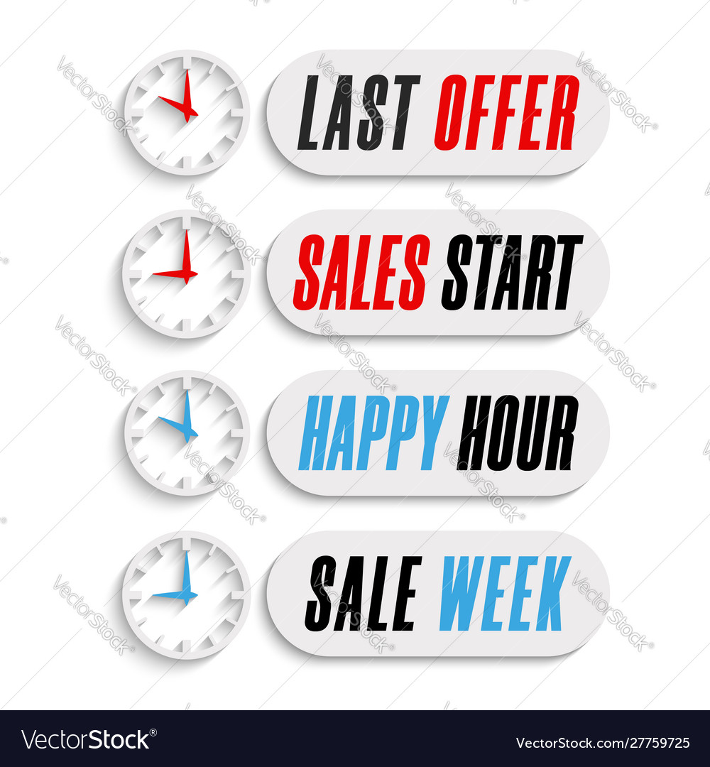 Set sale countdown 3d badges with clock last vector