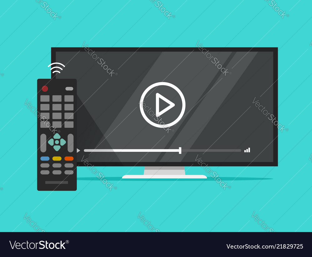 Tv flat screen watching video film and remote