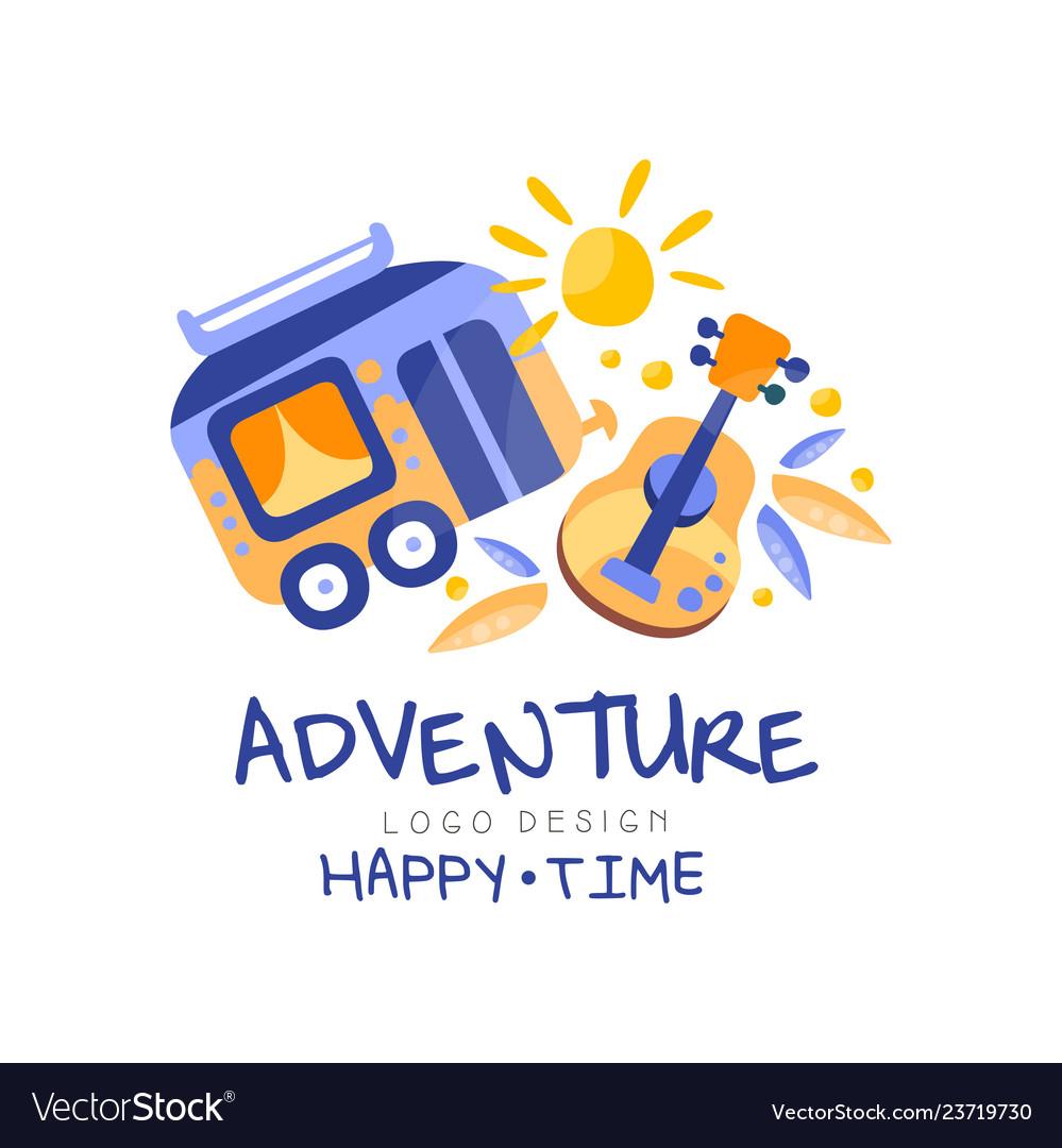 Adventure happy time logo design summer vacation