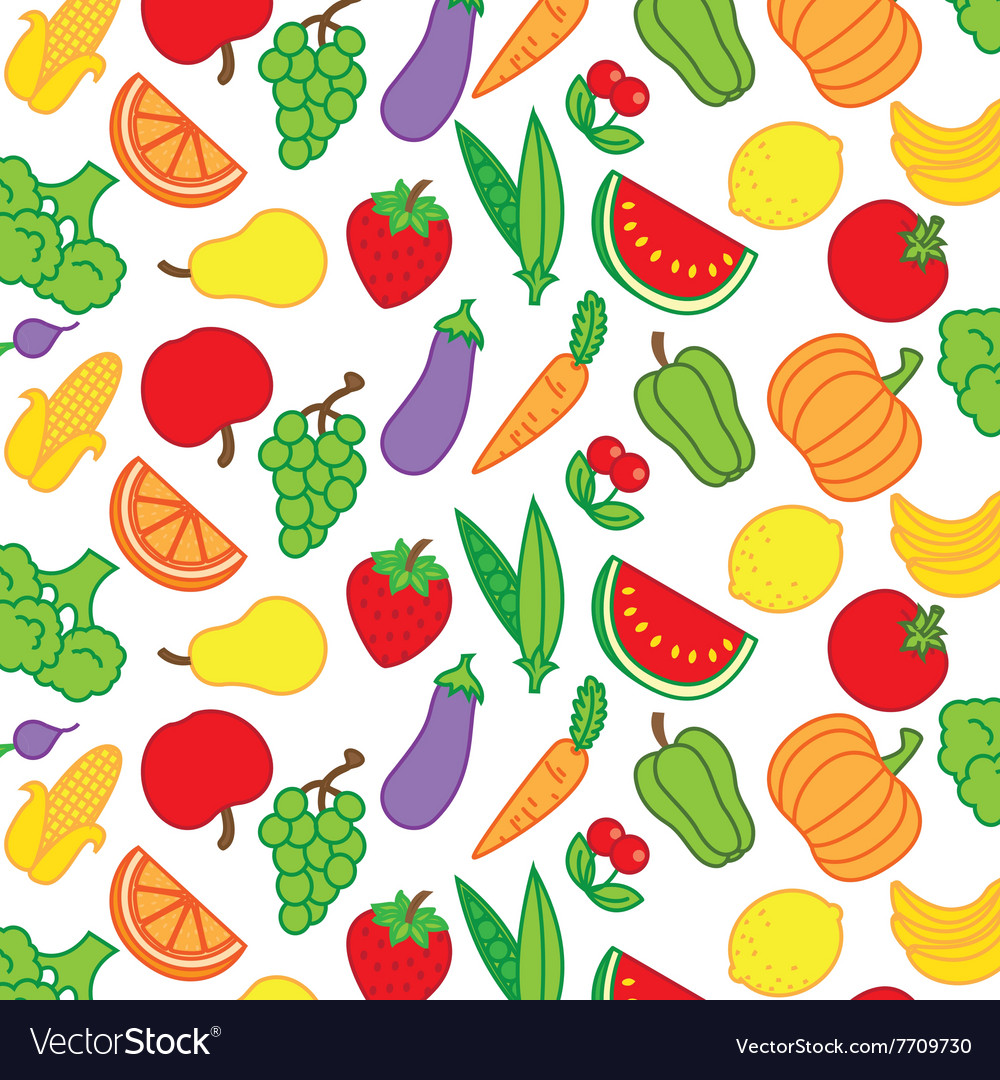 Background fruits and vegetables Royalty Free Vector Image