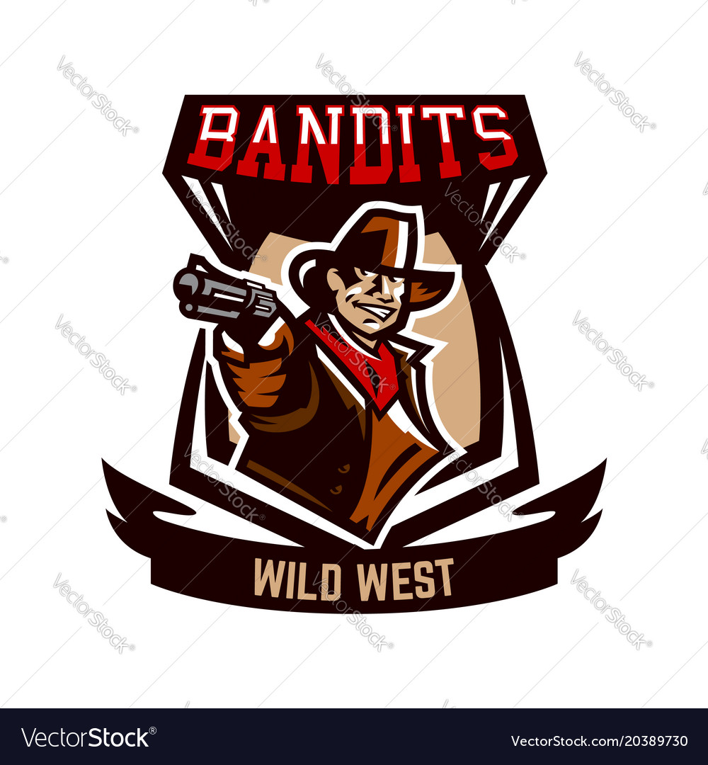 Colorful emblem logo cowboy holding a revolver