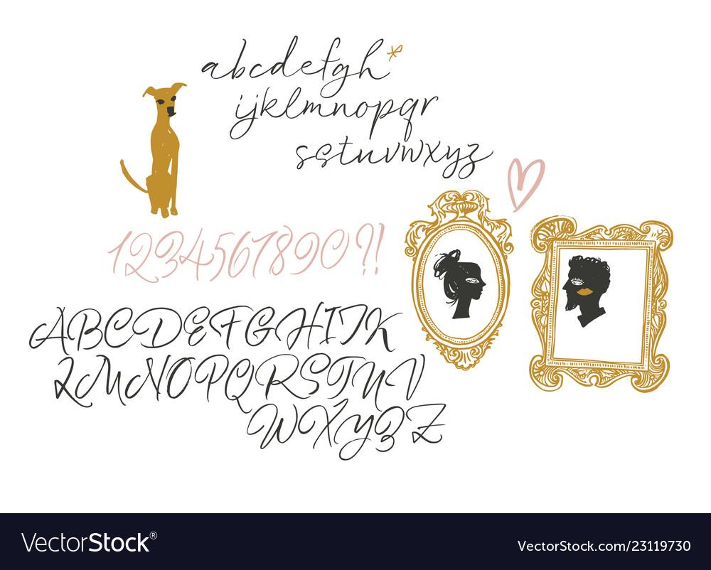 Elegant calligraphic brush typeface with decor