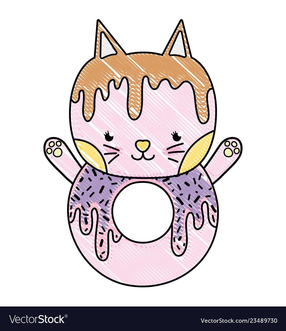 Grated Kawaii Cute Cat Donut Food Royalty Free Vector Image