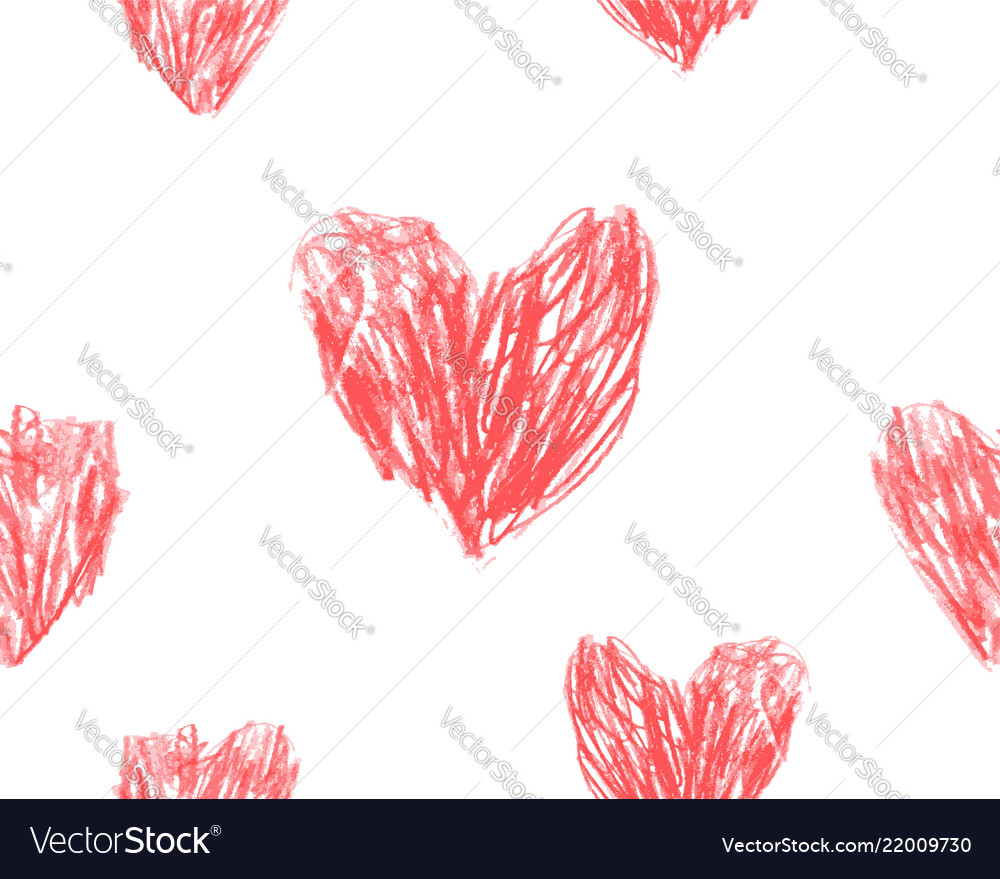 Hand drawn hearts seamless pattern red pencil draw