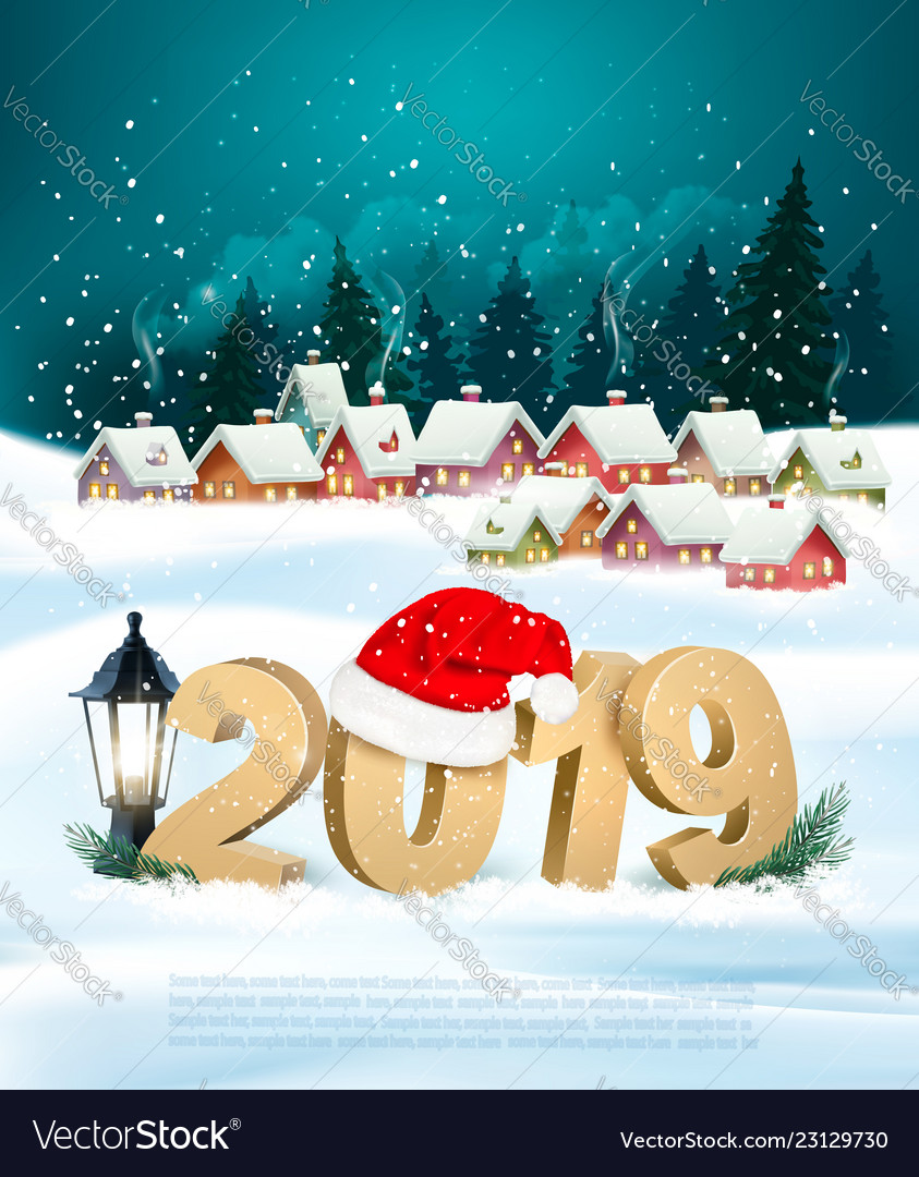 Holiday christmas background with 2019 and gift