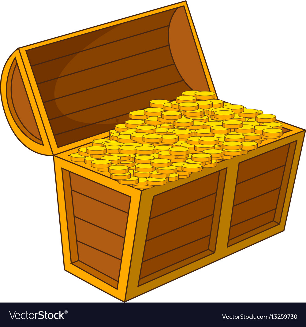 Pirate treasure chest with golden coins icon