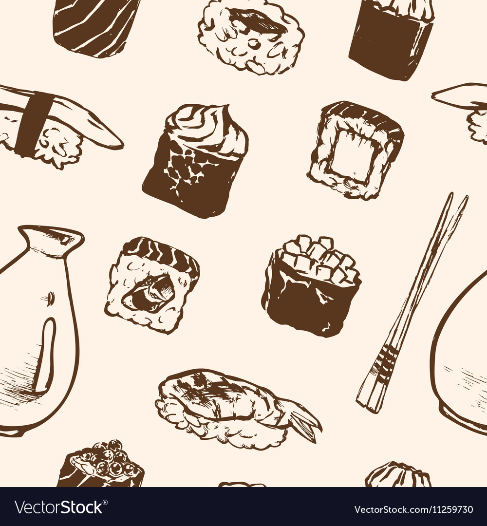 Seamless pattern Sushi rolls and japanese seafood