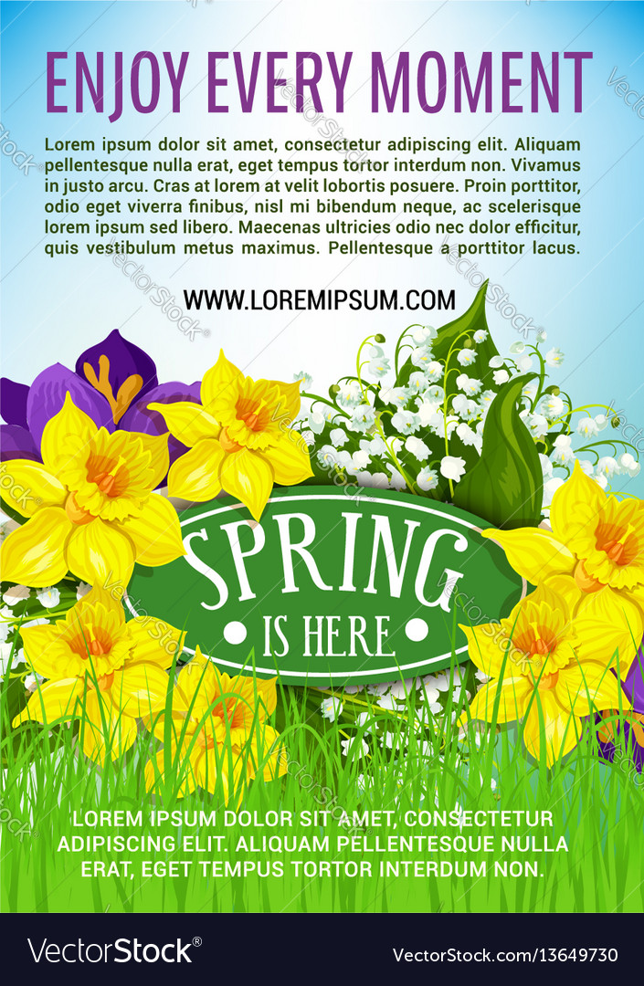 Spring holiday poster of daffodils bouquet