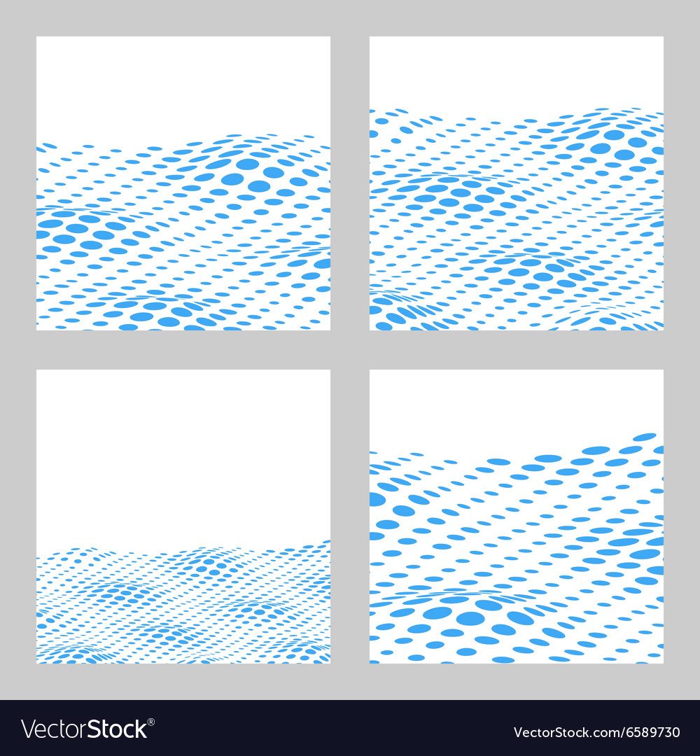 Wavy Halftone Background Set For Text Card