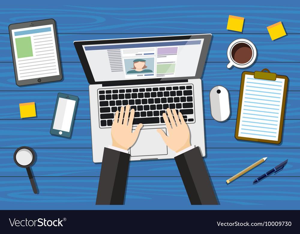 Workplace - top view - flat design - laptoop blue