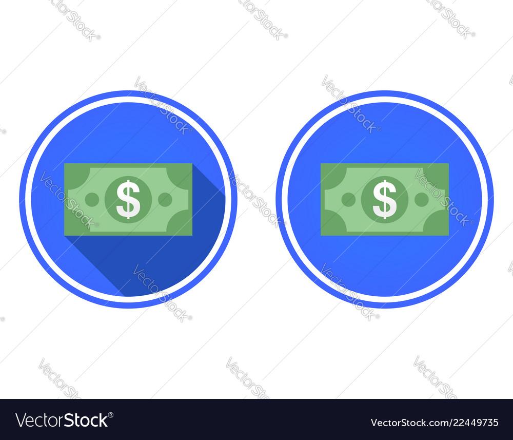 Banknote dollar round flat icon
