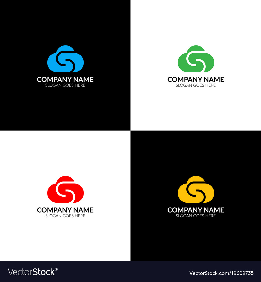 Cloud with letter s logo icon flat design