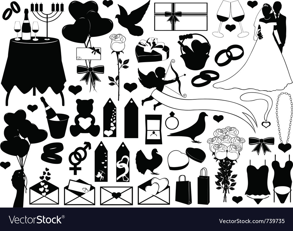 Different sign and symbols of love vector image