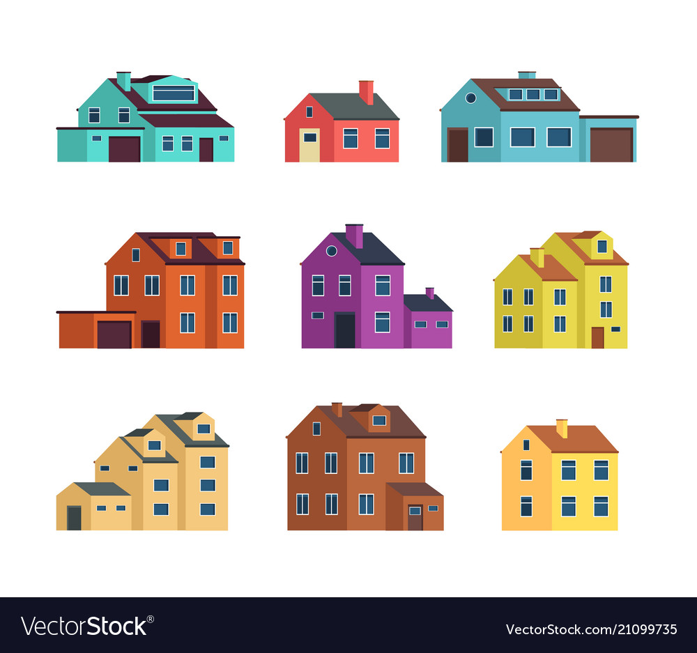 Flat cartoon town houses cottage buildings with