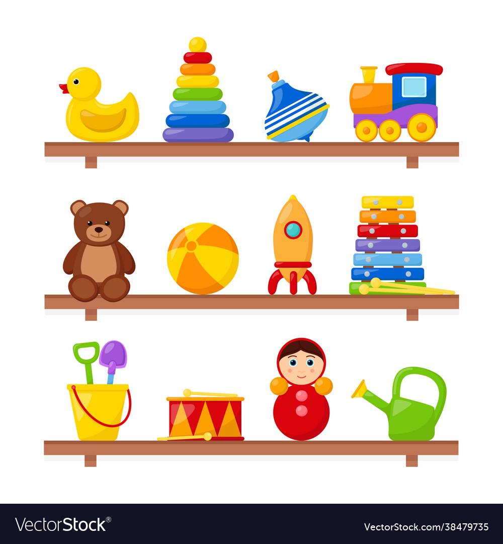 Kid toys on wooden shelves