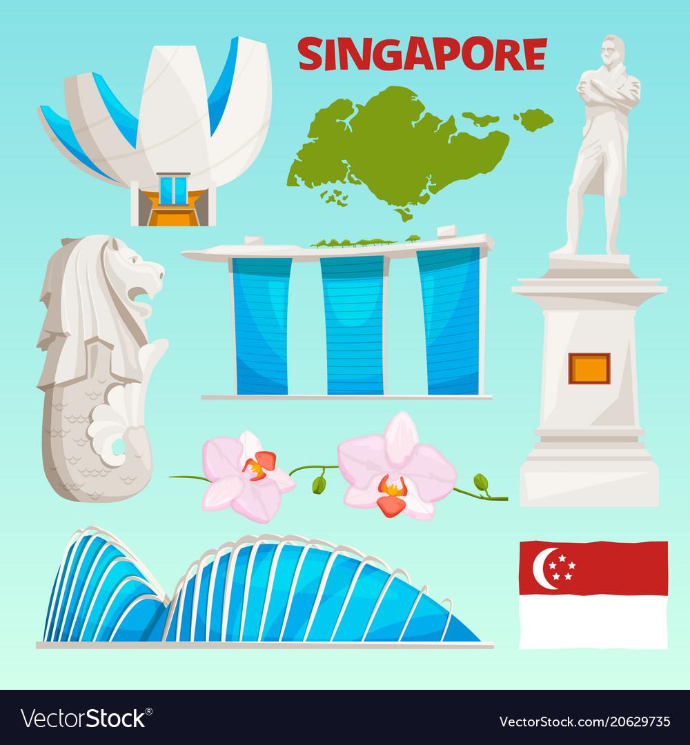 Landmarks icons set of singapore cartoon cultural