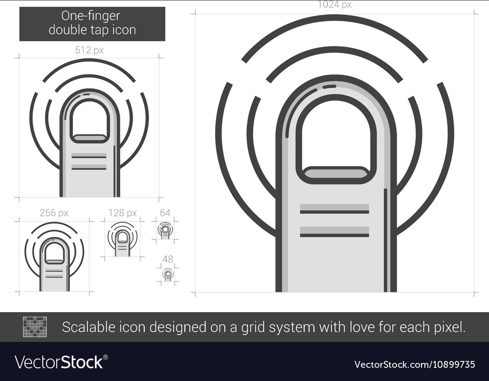 One-finger double tap line icon vector image